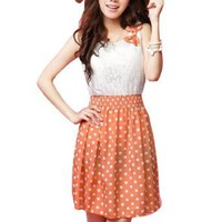 Allegra K Women Sleeveless Dots Design Butterfly Knot Left Upper Dress