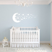 Children Wall Decal Baby Vinyl - Moon Stars White Night Sky