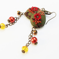 Autumn Jewelry, Fall Finds, Leaves, Green Boho Earrings, Handmade Polymer Clay Jewelry, Fimo, Jewellery