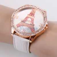 Fashion Women Laidies Paris Tower Diamond Leather Quartz Wrist Watch White New