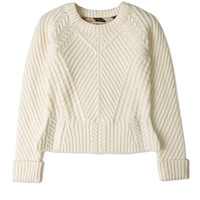 Natural White Peplum Cable Knit Jumper by Burberry Brit