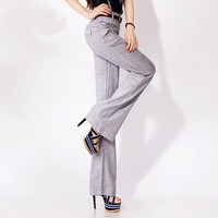 Super Slim wide leg women pants, Mid rise Thin pants for professional women