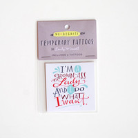 Grown Ass Lady Temporary Tattoo, Hand Lettered Tattoo / SET OF TWO