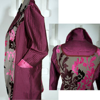 ooak SALE Handmade Coat Fuchsia and Gray Fall Spring fashion jacket