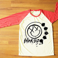 Blink 182 T-Shirt Pop Punk T-Shirt Travis Barker Shirt Rock Shirt Red Sleeve Shirt Women Shirt Men Shirt Unisex Shirt Baseball Shirt S,M,L