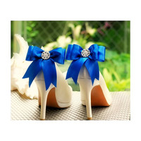 Shoe Clips Sparkly Royal Blue / White Bow. Shiny Rhinestones & Satin Ribbon. Bridal Fashionista Couture, More Teal Sage Pink Red Black Ivory