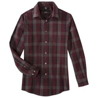 Mossimo Black® Men's Slim Fit Stretch Poplin Button Down - Berry Moment Plaid