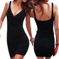 LOCOMO Sexy Lingerie Deep V Women Chemise Lycra Cocktail Party Mini Dress Clubwear CMC183 BK One Size Black