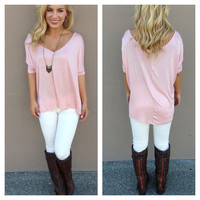 Blush Pink V-Neck Basic Modal Tee