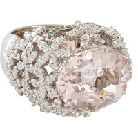 Sidney Garber Diamond, Morganite & Tsavorite Flower Ring at Barneys.com