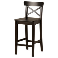 INGOLF Bar stool with backrest - brown-black, 24 3/4