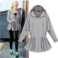 ZLYC Flare Drawstring Zip Through Casual Hoodie for Girls