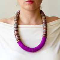Purple Necklace, Hot Necklace, Original Necklace, Tribal Necklace, Berber Necklace, Bold Necklace