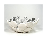 White Bubble Bowl with Silver  Shimmer / Home Decor by mkwATELIER