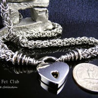 Locking BDSM Stainless Steel Collar - Byzantine Chainmaille