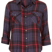 Navy Blue Check Shirt - Check It Out - New In - Topshop USA