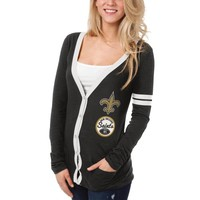 New Orleans Saints Ladies Slub Button-Up Long Sleeve Cardigan - Black