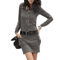 Allegra K Lady Long Sleeve Point Collar Belted Spring Dress Dark Gray L