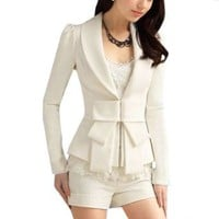 Allegra K Lady Shawl Collar Long Sleeve Hook Closure Blazer Jacket White