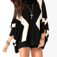 Geo Patterned Sweater Cape