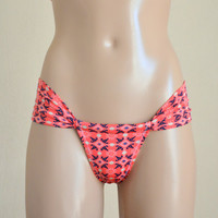 Brazilian bikini bottom coral tribal brazilian bikini bottom swimsuit brazilian bottom swimsuit bottom women's accessory