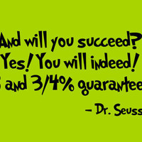 Dr Seuss Wall Decal 'And Will You Succeed' Quote by InitialYou