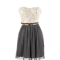 Peach Sequin Pleated Dress