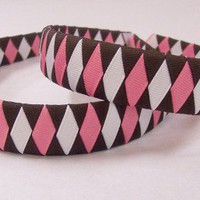 Neapolitan one inch headband grosgrain ribbon brown white and rose | SilverGriffonDesigns - Accessories on ArtFire