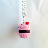 Kawaii Pink Cupcake Chocolate Cherry Charm Necklace, Choice of Surgical Stainless Steel Chain :)