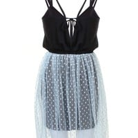 LOVE Powder Blue Jersey Dress With Pleated Mesh Skirt