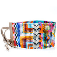 Julie Rofman Wide Beaded Bracelet in Havana  | LEIF