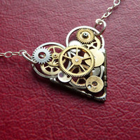 Clockwork Heart Necklace Love Robotic  by amechanicalmind