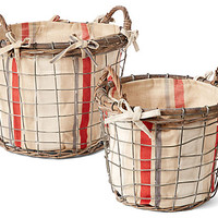 One Kings Lane - Francophile Style - S/2 Round Rattan Baskets, Large