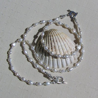 "Necklace & Bracelet Set - White Freshwater Pearl and Sterling Silver - ""Elegance"""