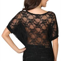 Short Sleeve Dolman Top with Lace Back