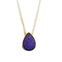 Purple Sparkle Teardrop Druzy Charm Necklace