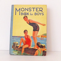 Vintage Children's Book - Monster Books for Boys, 1947, Nostalgic gift, Playroom decor