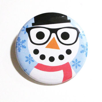 Christmas Pins Snowman Accessories Hipster Buttons Nerd Glasses Snowman XMas Party Favors Christmas Pinback Buttons