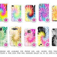 Tie Dye Retro Psychedelic Hippie 60s High Drugs Peace Love Case「 For iPhone 5 5S 4 4S 3G 3GS iPod Touch Galaxy S4 S3 S2 Note 1 & 2 」