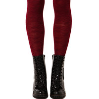 Snowflake Knee High Socks in Burgundy