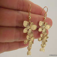 Cascading Flower Earrings Gold Earrings by JSWMetalWorks on Etsy