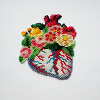 Beaded blooming heart brooch