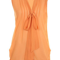 Peach Sleeveless Pussybow - Tops - Apparel - Miss Selfridge US