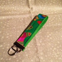 Wristlet Key Fob Christmas Stocking on Green Fabric by Laurel Burch