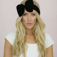 Black Knitted Bow Headband Ear Warmer with by ThreeBirdNest