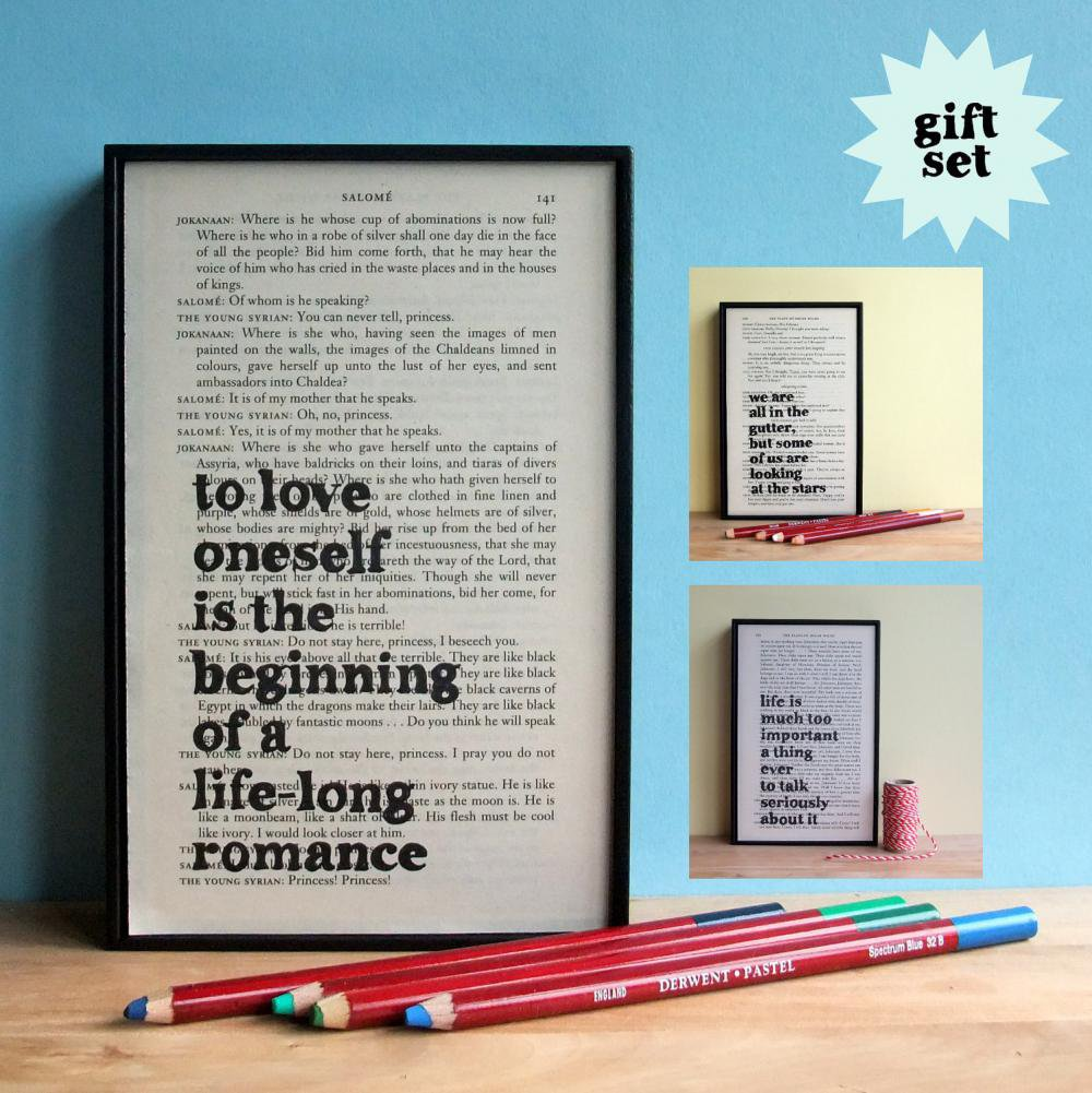 Oscar Wilde Inspirational Quote Gift Set Framed Artwork On Upcycled Book Page | Luulla