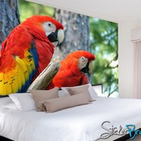 Wall Mural Decal Sticker Parrots 10ft. # MMartin 112 | stickerbrand - Housewares on ArtFire