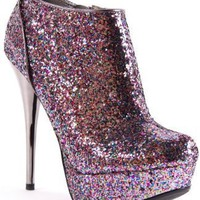 Qupid Neutral-237 Multi Glitter Stiletto Heel Ankle Boot
