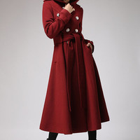 Red wine cashmere coat  winter hooded mantle Military by xiaolizi