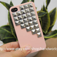 Silver Studs Hard Case for Apple iPhone 4 by handworld